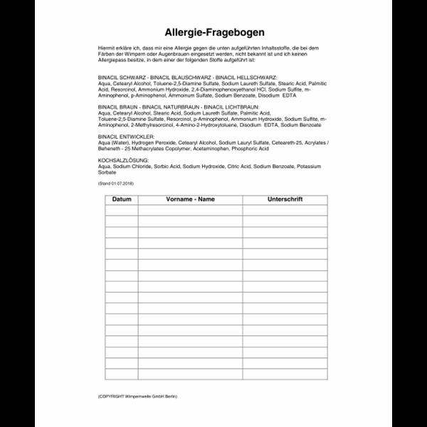 Allergiefragebogen BINACIL, D